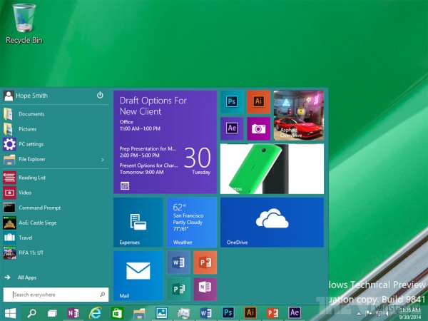 Свежие скриншоты Windows 10 Technical Preview